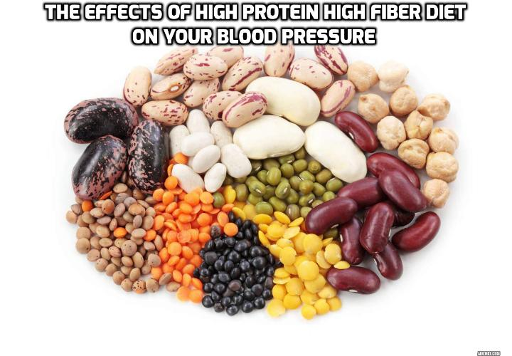 The Effects of High Protein High Fiber Diet on Your Blood Pressure - Researchers from Boston University School of Medicine recently discovered that people who include high protein high fiber foods in their diets are 60% less likely to develop high blood pressure.
